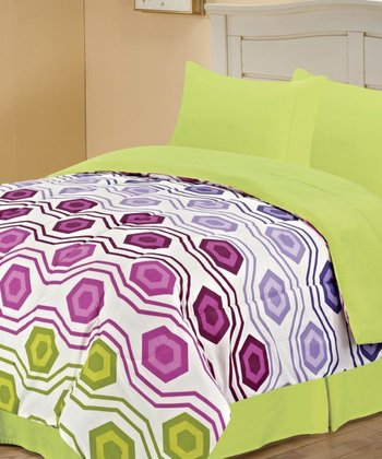 Pink & Lime Beautiful Octagon Reversible Comforter