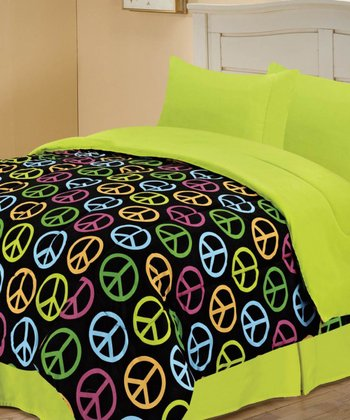 Black Beautiful Peace Reversible Comforter