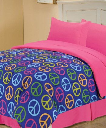 Blue Beautiful Peace Reversible Comforter