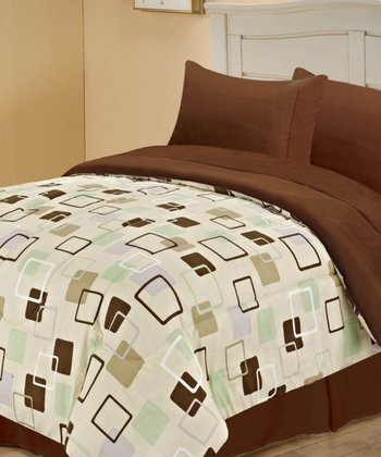 Taupe Beautiful Squares Reversible Comforter