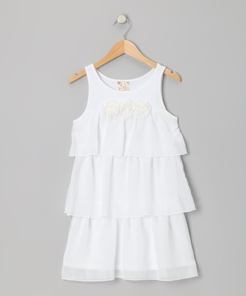 White Rosette Tiered Ruffle Shift Dress - Toddler & Girls