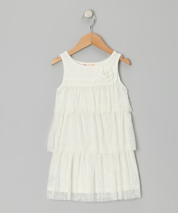Ivory Tiered Ruffle Lace Shift Dress - Girls