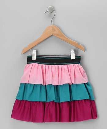 Pink & Turquoise Tiered Ruffle Skirt - Toddler & Girls