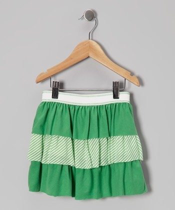 Green Stripe Tiered Ruffle Skirt - Toddler & Girls