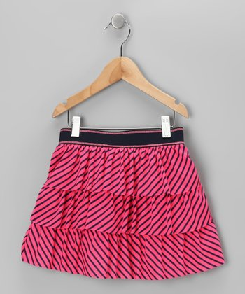 Hot Pink & Navy Stripe Tiered Ruffle Skirt - Toddler & Girls