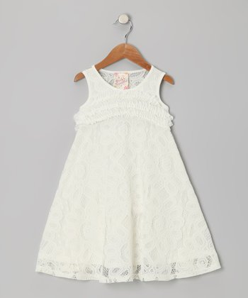 Ivory Crocheted Lace A-Line Dress - Girls