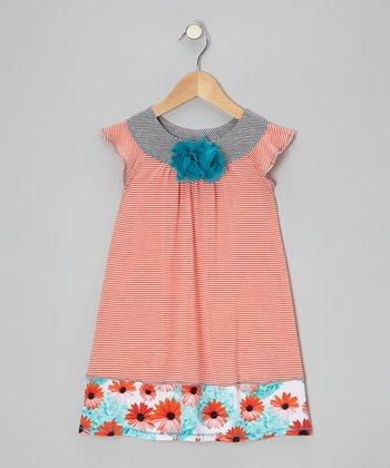 Orange & Black Angel-Sleeve Dress - Toddler