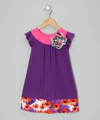Purple & Pink Angel-Sleeve Dress - Toddler