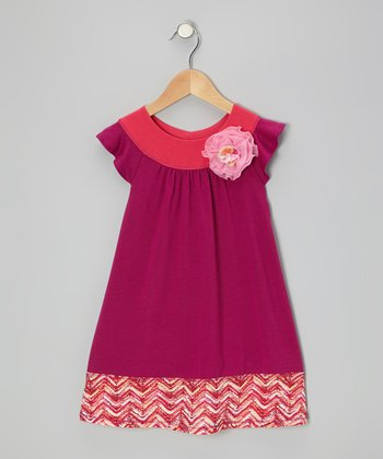 Plum & Fuchsia Angel-Sleeve Dress - Toddler
