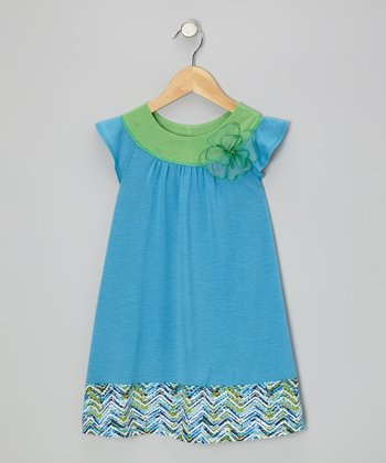 Turquoise & Green Angel-Sleeve Dress - Toddler