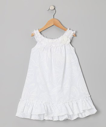 White Seashell Yoke Dress - Girls