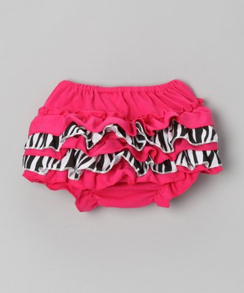 Pink Zebra Ruffle Diaper Cover - Toddler