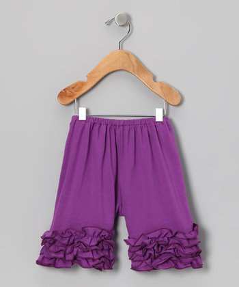 Dark Purple Ruffle Shorts - Toddler