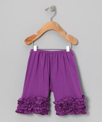 Dark Purple Ruffle Shorts - Toddler & Girls