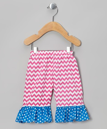 Hot Pink Zigzag Ruffle Shorts - Infant, Toddler & Girls