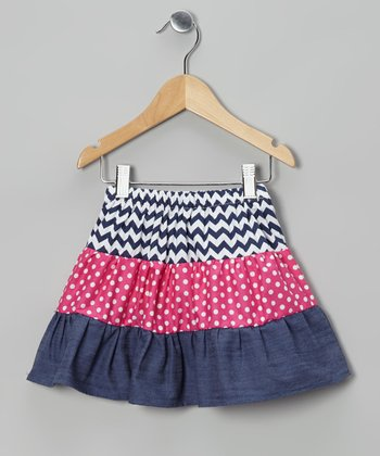 Navy Zigzag & Pink Layer Skirt - Toddler