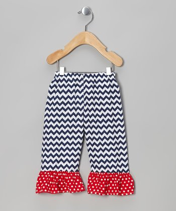 Navy Zigzag Ruffle Shorts - Infant, Toddler & Girls