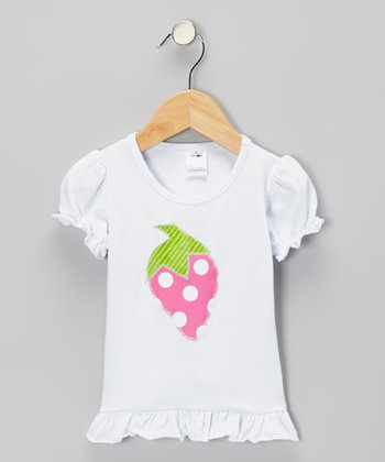 White Strawberry Tee - Infant, Toddler & Girls