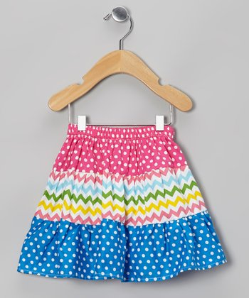 Rainbow Zigzag & Polka Dot Skirt - Toddler