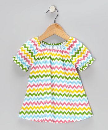 Rainbow Zigzag Peasant Top - Infant, Toddler & Girls
