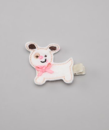 Pink Ribbon Puppy Felt Clip