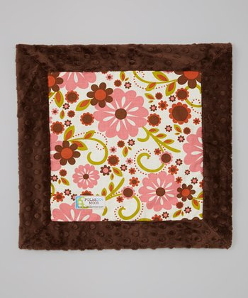 Brown Retro Flower Minky Security Blanket