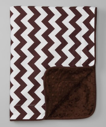 Brown Chevron Minky Travel Blanket