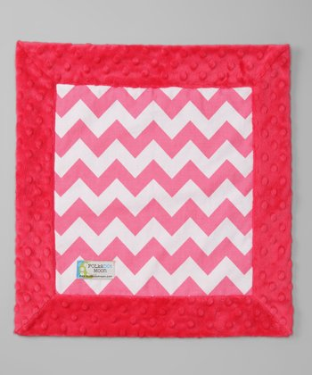 Hot Pink Zigzag Minky Security Blanket