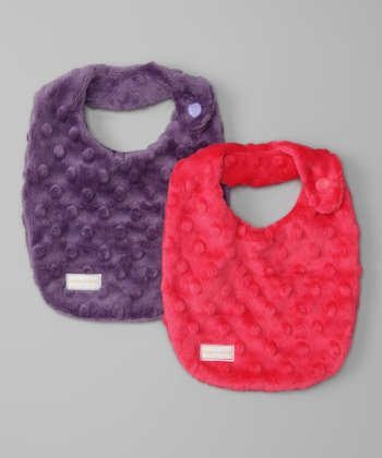 Purple & Hot Pink Minky Newborn Bib Set