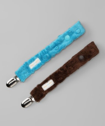 Turquoise & Brown Minky Binky Keeper Set