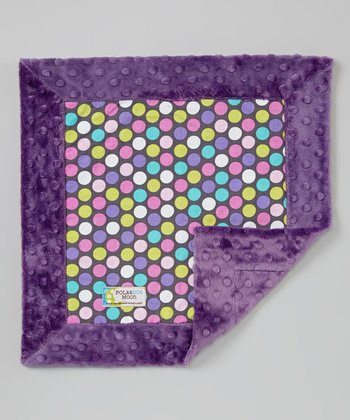 Purple Polka Dot Minky Security Blanket