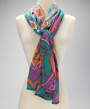 Green Multi Floral Scarf