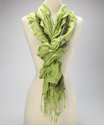 Green Ruched Scarf