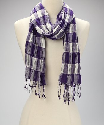 Purple Gingham Scarf