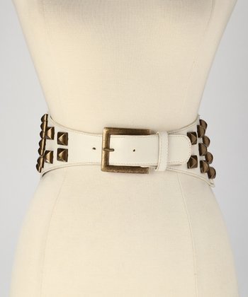 White Stud Stretch Belt