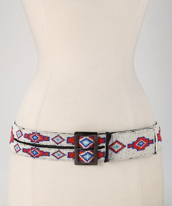 Red, White & Blue Beaded Tribal Belt