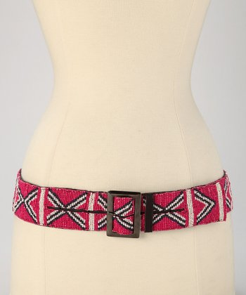 Pink & White Beaded Tribal Belt