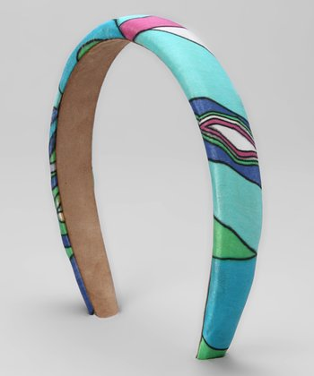 Blue & Green Geometric Silk Headband