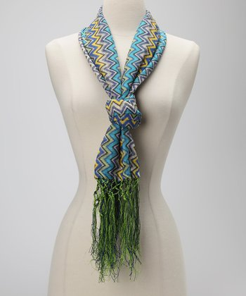 Blue & Yellow Tassel Chevron Scarf