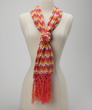 Pink & Yellow Tassel Chevron Scarf