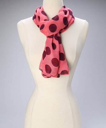 Pink & Purple Polka Dot Scarf