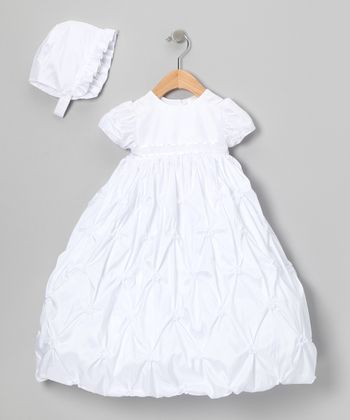 White Diamond Pick-Up Dress & Bonnet