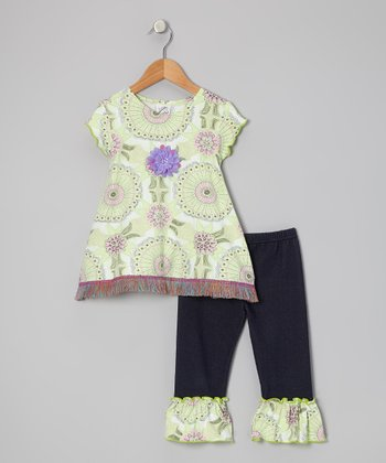Lime & Purple Floral Swing Top & Capri Pants - Toddler & Girls