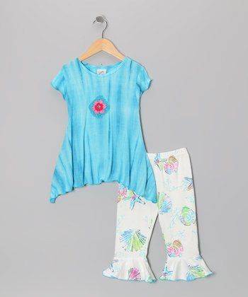 White Seashore Tie-Dye Swing Top & Capri Pants - Toddler & Girls
