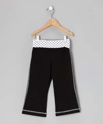 Black Polka Dot Yoga Capri Pants - Toddler