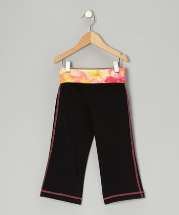 Black Tie-Dye Yoga Capri Pants - Toddler & Girls
