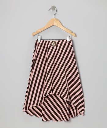 Brown & Pink Stripe Hi-Low Skirt - Girls