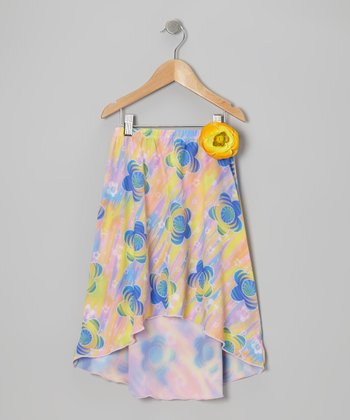 Pink Psychedelic Daisy Hi-Low Skirt - Girls