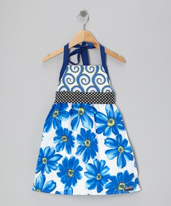 Blue Flower Polka Dot Sash Dress - Toddler & Girls