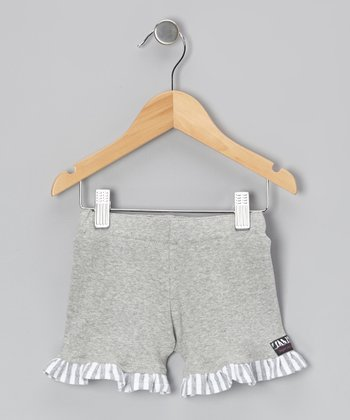 Gray Stripe Ruffle Shorts - Infant, Toddler & Girls